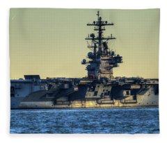 Cvn77 Bush Aircraft Carrier Fleece Blanket