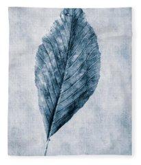 Cyanotype Leaf Fleece Blanket