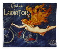 Cycles Gladiator  Vintage Cycling Poster Fleece Blanket