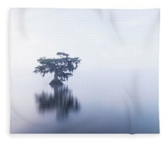 Cypress In Heavy Fog Fleece Blanket