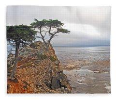 Cypress Tree At Pebble Beach Fleece Blanket