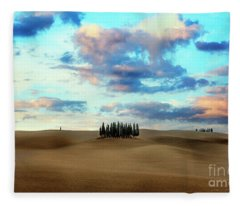 Cypress Trees Of San Quirico D'orcia Of Tuscany Fleece Blanket