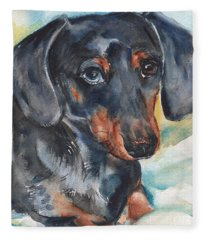 Dachshund Portrait In Watercolor Fleece Blanket