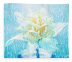 Daffodil Flower In Rain. Digital Art Fleece Blanket