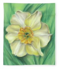 Daffodil Spring Floral Fleece Blanket