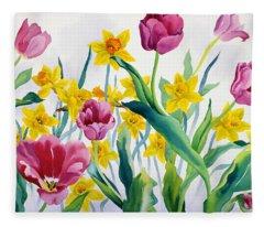 Daffodils And Tulips Fleece Blanket