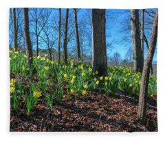 Daffodils On Hillside Fleece Blanket