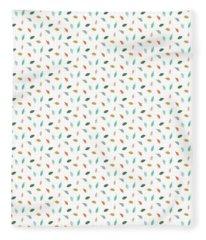 Fleece Blanket featuring the drawing Dainty Leaves by Jocelyn Friis