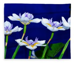 Dainty White Irises All In A Row Fleece Blanket