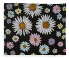 Daisies On Black Fleece Blanket