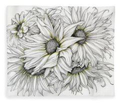 Sunflowers Pencil Fleece Blanket
