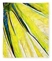 Daisy Petal Abstract In Lemon-lime Fleece Blanket