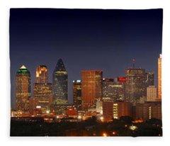Dallas Skyline At Dusk  Fleece Blanket
