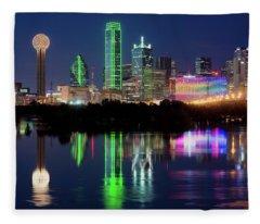 Dallas Skyline Reflection 91317 Fleece Blanket