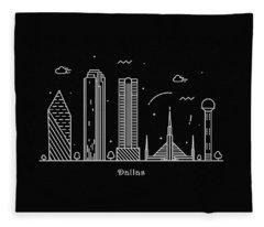 Dallas Skyline Travel Poster Fleece Blanket