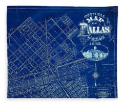 Dallas Texas Official 1875 City Map Blueprint Butterfield And Rundlett Fleece Blanket