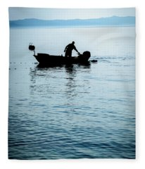 Dalmatian Coast Fisherman Silhouette, Croatia Fleece Blanket