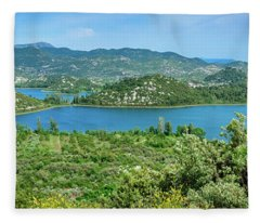 Dalmatian Coast Panorama, Dalmatia, Croatia Fleece Blanket