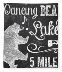 Dancing Bear Lake Rustic Cabin Sign Fleece Blanket