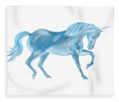 Dancing Blue Unicorn Fleece Blanket