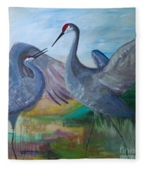 Dancing Cranes Fleece Blanket