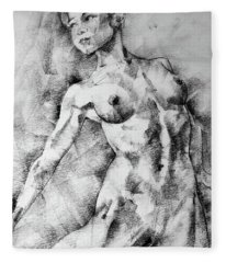 Dancing Girl Drawing Fleece Blanket