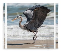 Dancing Heron Triptych Fleece Blanket