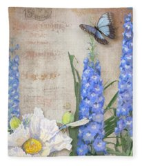 Dancing In The Wind - Damselfly N Morpho Butterfly W Delphinium Fleece Blanket