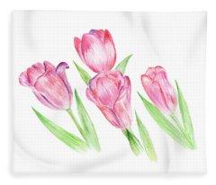 Dancing Tulips Fleece Blanket