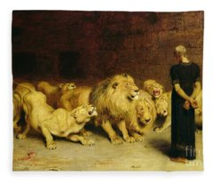 Daniel In The Lions Den Fleece Blanket