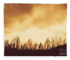 Dark Afternoon Woodland Fleece Blanket