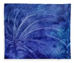 Dark Blue Abstract Fleece Blanket