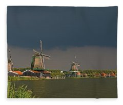 Dark Clouds Above Zaanse Schans Fleece Blanket