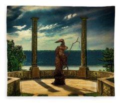Dark Magic At Sunset By The Hudson Fleece Blanket
