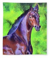 Dark Red Bay Horse Fleece Blanket