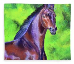 Dark Red Bay Horse Fleece Blanket