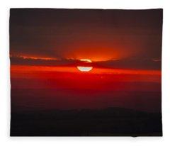 Dark Red Sun In Vogelsberg Fleece Blanket