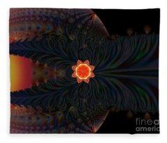 Dark Space Fractal  Fleece Blanket