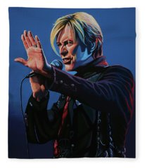David Bowie Live Painting Fleece Blanket