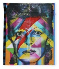 David Bowie Mural # 3 Fleece Blanket