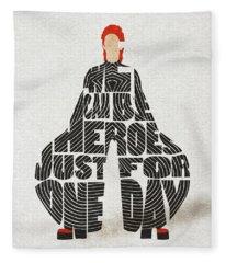 David Bowie Typography Art Fleece Blanket