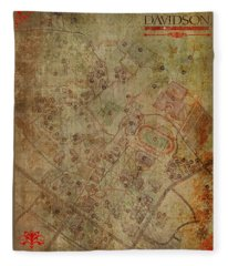 Davidson College Map Fleece Blanket