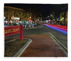 Davis Square Sign Somerville Ma Mikes Fleece Blanket