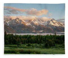 Dawn At Grand Teton National Park Fleece Blanket