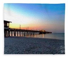 Dawn At Gulf Shores Pier Al Seascape 1283a Digital Painting Fleece Blanket