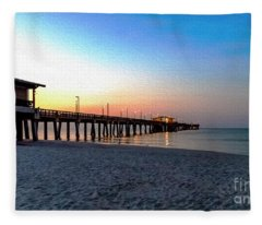 Dawn At Gulf Shores Pier Al Seascape 1283a Digital Painting Fleece Blanket