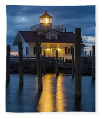 Dawn At Roanoke Marshes Lighthouse Fleece Blanket