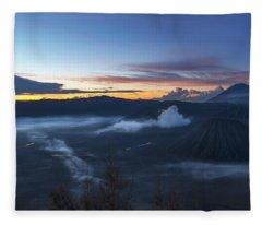 Dawn Breaking Scene Of Mt Bromo Fleece Blanket