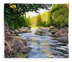 Dawn On The River Fleece Blanket