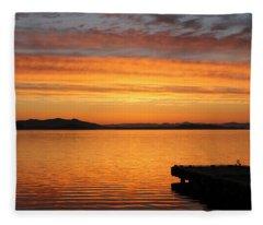 Dawn In The Sky At Dusavik Fleece Blanket